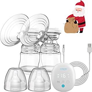 Electric Breast Pump – Elebebe Double Breast Pump Massage/Pumping/Auto/Memory Modes, 16 Levels Quiet Softer 100% Silicon Shield Pain Free Breast Pump, Hospital Grade w/Battery Indicate, USB Charging