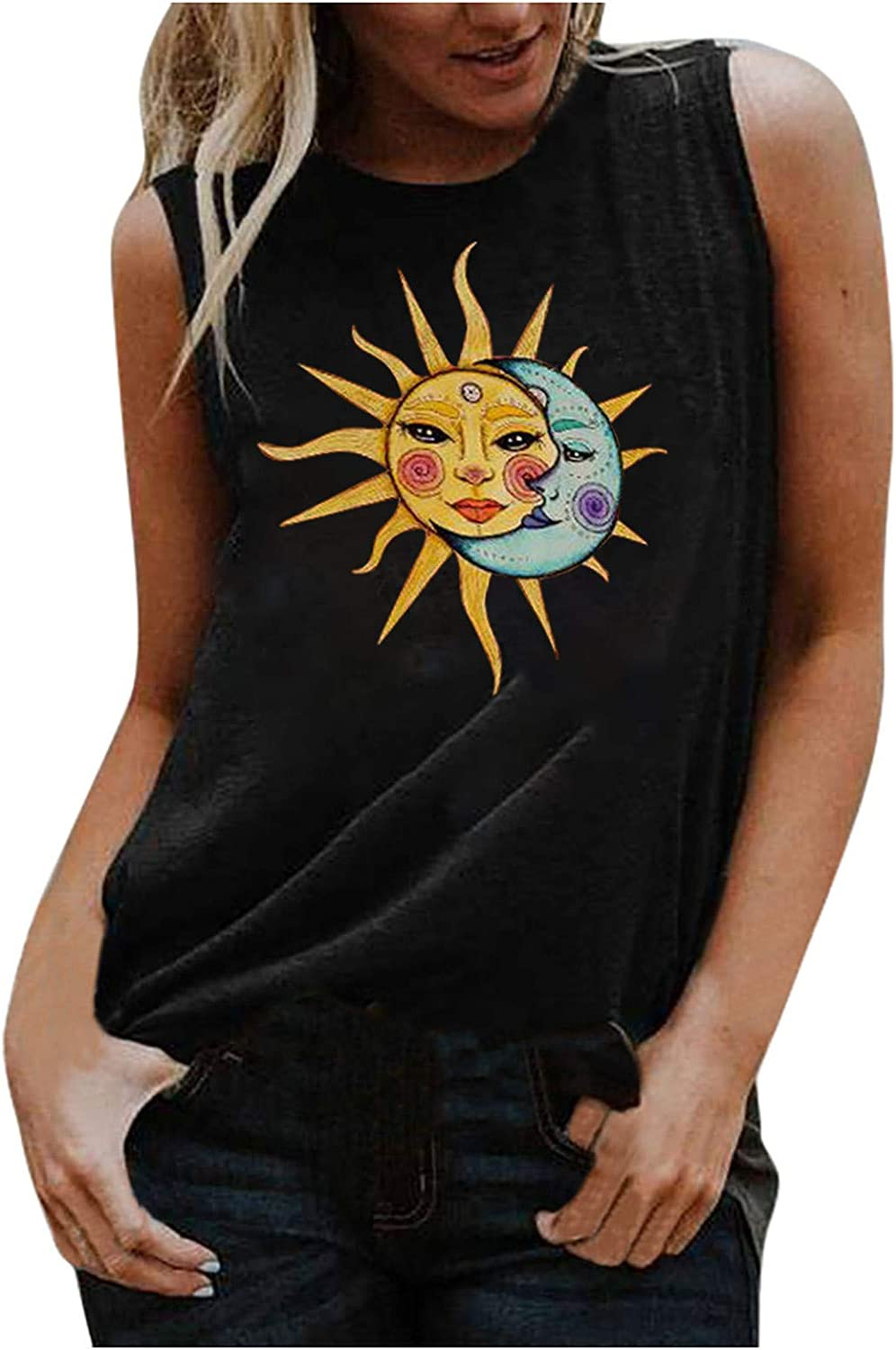 Pottseth Tank Tops for Women,Womens O-Neck Sun and Moon Print Sleeveless Casual Tops Shirts Camisoles Loose Summer Tops