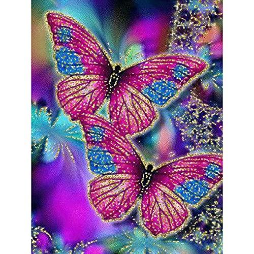 Kit de pintura de diamante, diseño de mariposas de color azul marino y 5D, perfecto para relajarse y decoración de pared del hogar, 39,8 x 49,8 cm