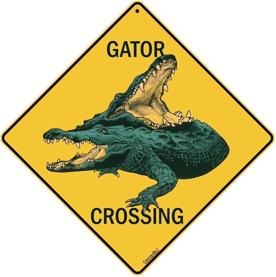CROSSWALKS Gator Crossing Sign - Aluminum Genuine X08 12