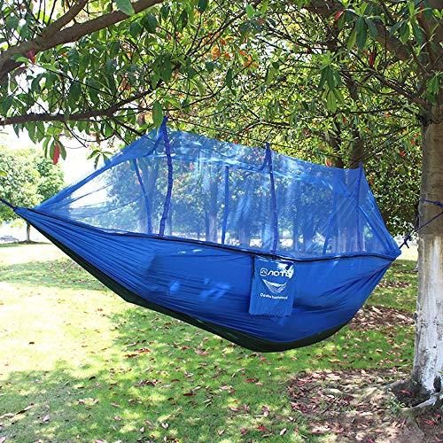 RongDuosi 210T Nylon Camping Outdoor Parachute Hangmat Camping Dubbele Laaddragende 200KG Lente En Zomer Spelen Milieuvriendelijk Licht (met Muggennet) Buitenuitrusting Zwembed