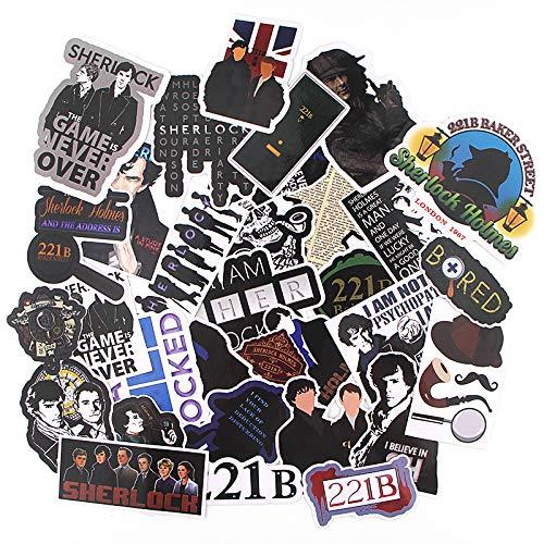 BAIMENG Sherlock Pegatinas creativas Personalidad Impermeable Guitarras Skateboard Graffiti Pegatinas 33 Piezas