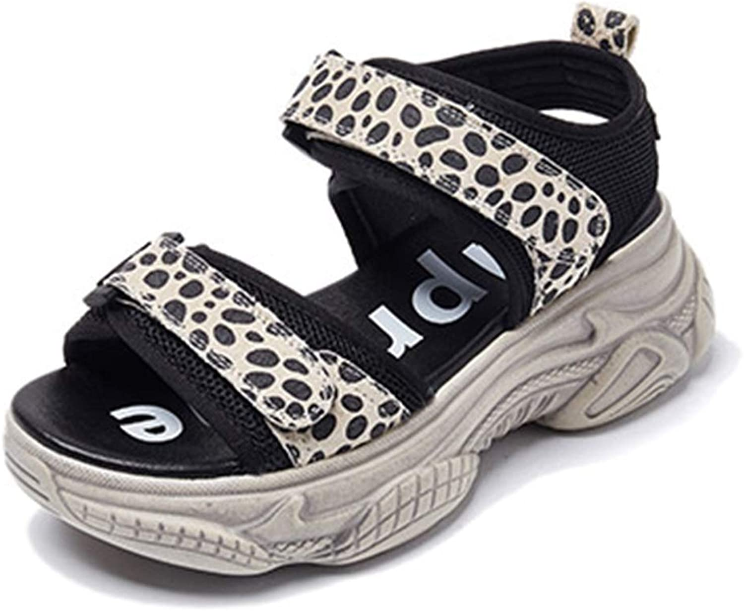 Velcro Thick-Soled Sandals Summer Sports Casual shoes Increased Platform shoes Wild Beach Sandals Mid Heel Sandals for Women Increased, Thin (color   Leopard, Size   39 US8)