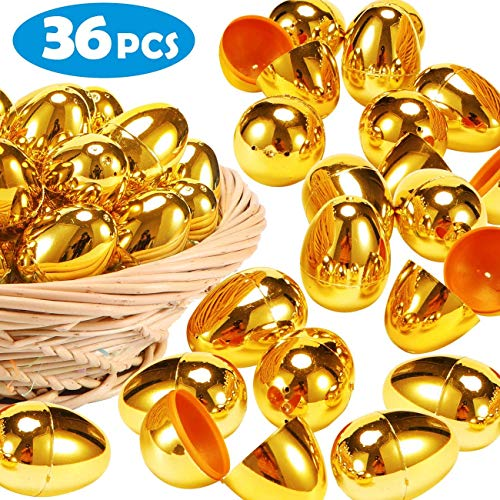 Great Price! YEAHBEE 36 Pcs Golden Easter Eggs-2 3/8 Gold Color Plastic Easter Eggs for Filling Spe...