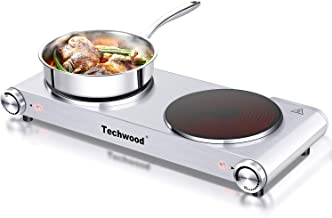 Techwood Hot Plate Electric Burner Countertop Burner Double Burner Infrared Ceramic Double Cooktop (900W & 900W) Cast Iron Outdoor Adjustable Temperature Control Brushed Stainless Steel Easy Clean