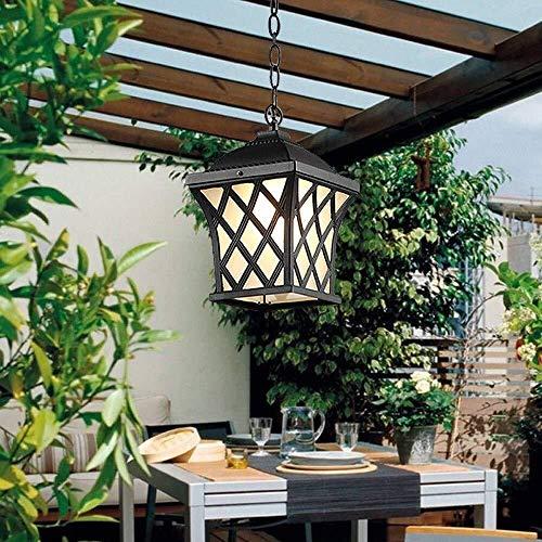 Garten Laternen Outdoor Hängeleuchte Wasserdichte im Freien Pendelleuchte Glas Laterne Nichtrostender justierbaren hängende Deckenleuchte Villa Terrasse, Balkon, Veranda Kronleuchter (Color : Black)