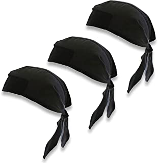 Chef Code 3-Pack Chef Skull Cap with Ties Black
