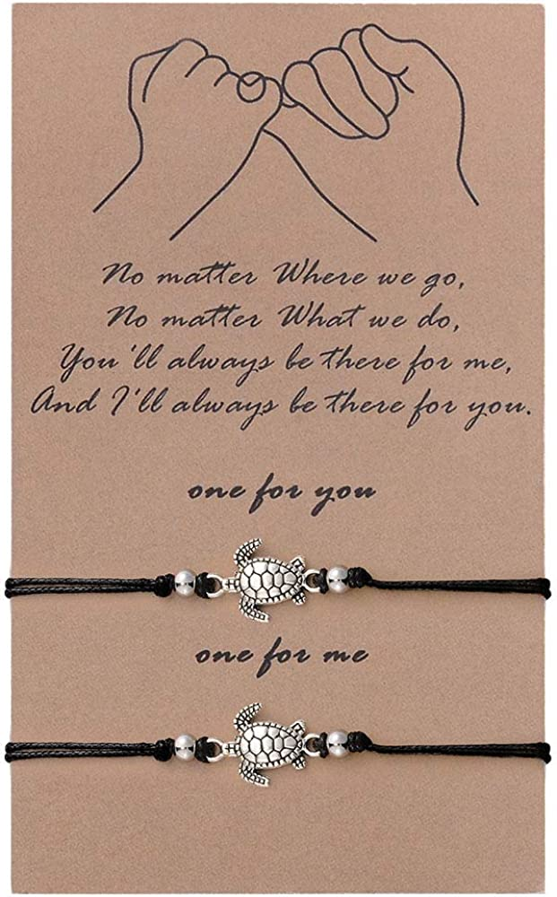 SUNSH 2Pcs Sea Turtle Anklets Bracelets for Women Teen Girls Lover Pinky Promise Matching BFF Adjustable String with Wish Card Jewelry Couple Boyfriend Girlfriend Husband Wife Friendship Gifts