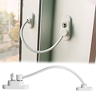 Flurries Window Sliding Door Lock with Screws Key - Protection Lockable Opening Restrictor - Catch Wire Cable Lock Buckle - Child-Proof Pet-Proof Anti-Theft Security Guard for Baby Kids Safety