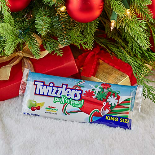TWIZZLERS Holiday Licorice Candy Pull 'n' Peel, Red, Green, and White King Size 4.2 oz. (Pack of 15)