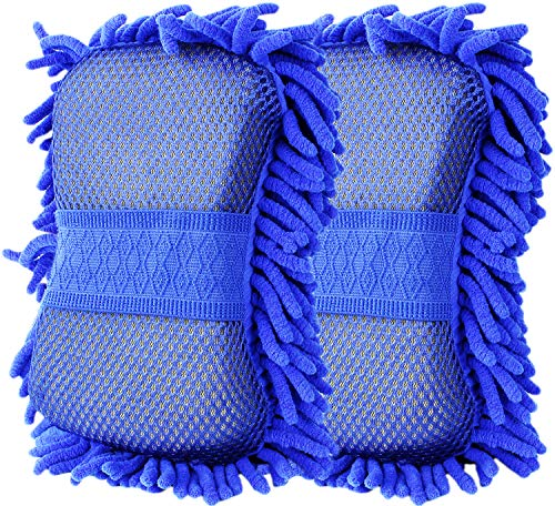 Chenille Microfiber Premium Car Wash Mitt Glove with Sponge 2-Pack by Fortress Auto (Blue)