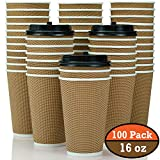 100 Pack 16 oz Disposable Coffee Cups with Lids [16oz - 12oz] Fully Insulated Double Walled Paper Coffee Cups with Lids - No Sleeves Needed - to Go Coffee Cups Leak Proof - Microwaveable Hot Cups togo