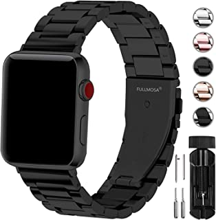 Fullmosa Compatible Apple Watch Band 38mm 40mm 42mm 44mm, Stainless Steel Metal for Apple Watch Series 5 4 3 2 1 Bands, 38mm 40mm Black