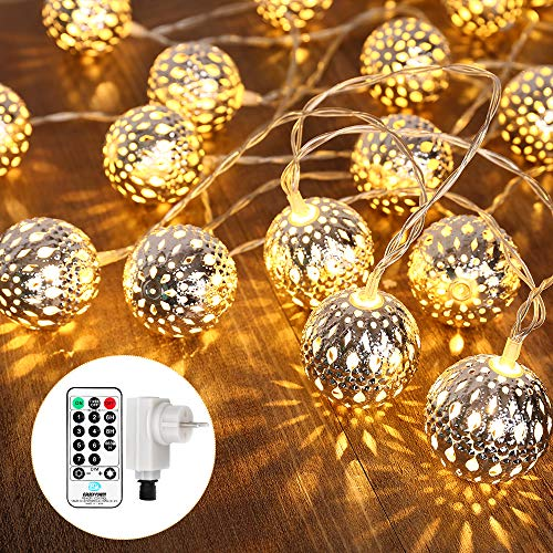 Qedertek LED Ostern Lichterkette mit Marokkanischen Kugeln, Lichterkette innen mit Netzstecker – 9 Meter, 30 LEDs Warm Weiß, Kugeln Orientalisch, Deko Silber, Hochzeit, Ostern Party Dekorations