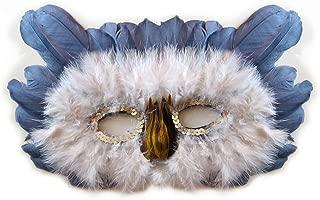 SACASUSA Feather OWL Costume Mask Halloween Mardi Gras n Grey, White and Brown