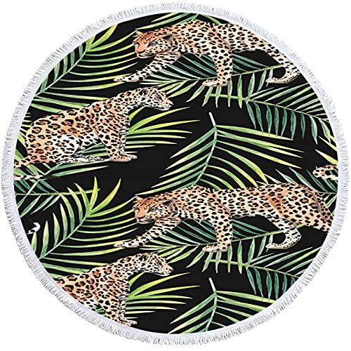 NTtie Toalla de Playa Toallas de baño Grandes de Secado rápido con Estera de Yoga Manta de Playa Alfombra de Playa Redonda 3D Leopardo
