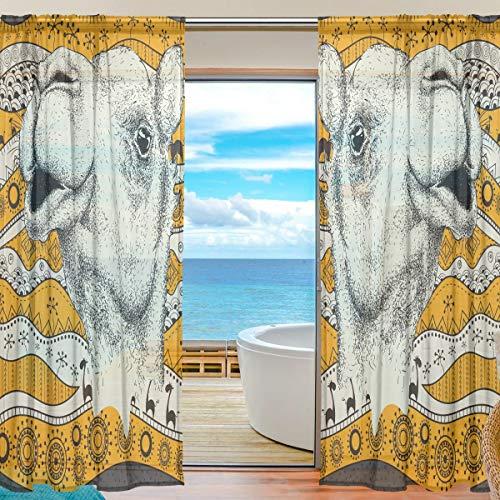 BONIPE Lama Alpaca Afrika Ethnic Sheer Gardine Voile Tüll-Panel Scheibengardine für Küche Schlafzimmer Wohnzimmer Home Decor 139,7 x 198 cm 2 Panels Set, Polyester, Multi, 55x78x2(in)