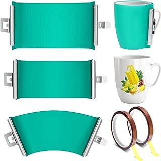 Qingsi Juego de 5 envoltorios de silicona de sublimación 3D con cinta resistente al calor de 325 ml, 355 ml, 425 ml, cinta...