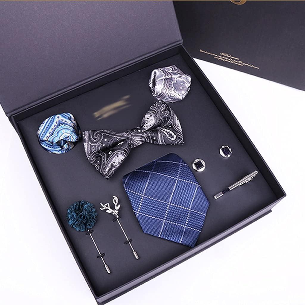 NJBYX Gift Box Packing Men's Formal Cravat Ascot Tie Self Gentleman Silk Tie Set (Color : B)