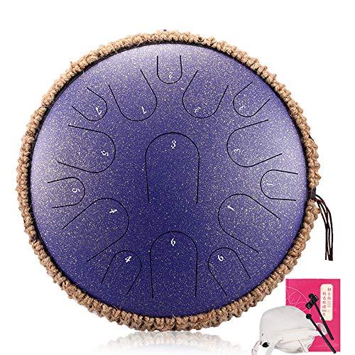 LOKE Stahlzunge Trommel 15 Hinweise 13 Zoll Harmonic HandPan Trommel, Rhythmusinstrument, Tank-Drum Chakra Drum für Meditation, Yoga und Zen mit Reisetasche,A