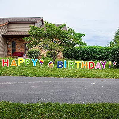 Vispronet Rainbow Happy Birthday Yard Signs with Stakes – Each Letter is 18in Tall – Includes Bonus Star, Cupcake and Balloon – Weather-Resistant Signs and Steel Stakes