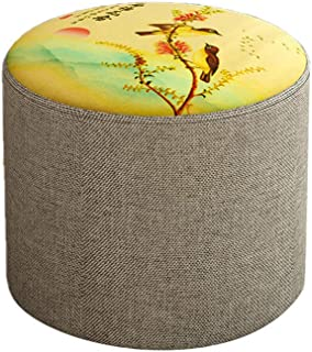 Chinese Style Animal Print Low Cylinder Stool/Modern Home Fabric Entrance Change Shoe Bench/Living Room Sofa Ottoman Footstool/stools Lounge