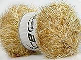 Large 100 Gram Skein Cream Gold Eyelash Dazzle Ice Metallic Eyelash Yarn
