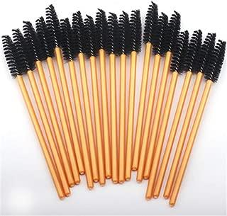 50PCS Nylon Disposable Mascara Wands Soft Mascara Brush Wand Eyebrow Comb Brushes Professional Eyelashes Golden Black
