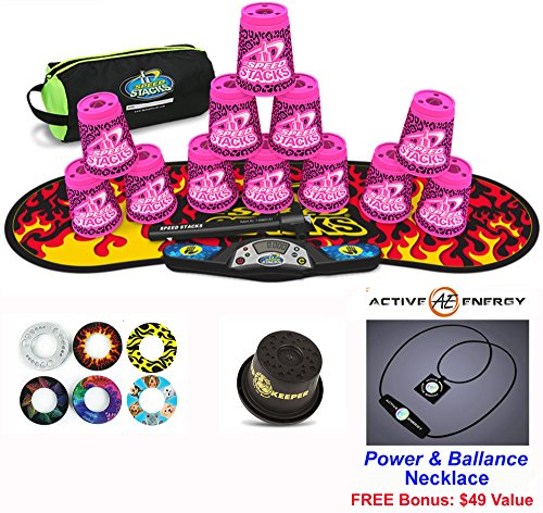 """Speed Stacks Combo Set 'The Works: 12 Zippy Leopard 4"""" Cups, Black Flame Gen 3 Mat, G4 Pro Timer, Cup Keeper, Stem, Gear Bag + Active Energy Necklace"""