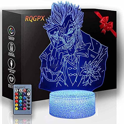 Lámpara de escritorio LED táctil Joker 3D de ilusión óptica de 16 colores, con control táctil USB, para decoración del hogar, regalos de cumpleaños de Navidad