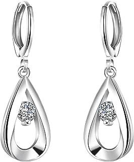 AMBESTEE Sterling Sliver Plated Fashion Design Inlay Zirconia Rhinestones Bicyclic Shape Hoop Earrings for Women Girls Ladies