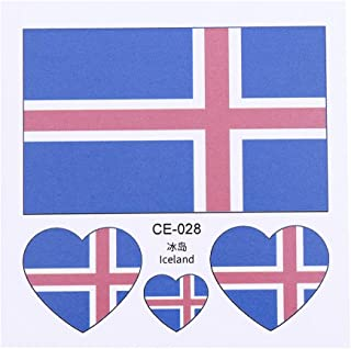 Vipeco 2018 World Cup Waterproof Disposable National Flag Tattoo Stickers(Iceland)