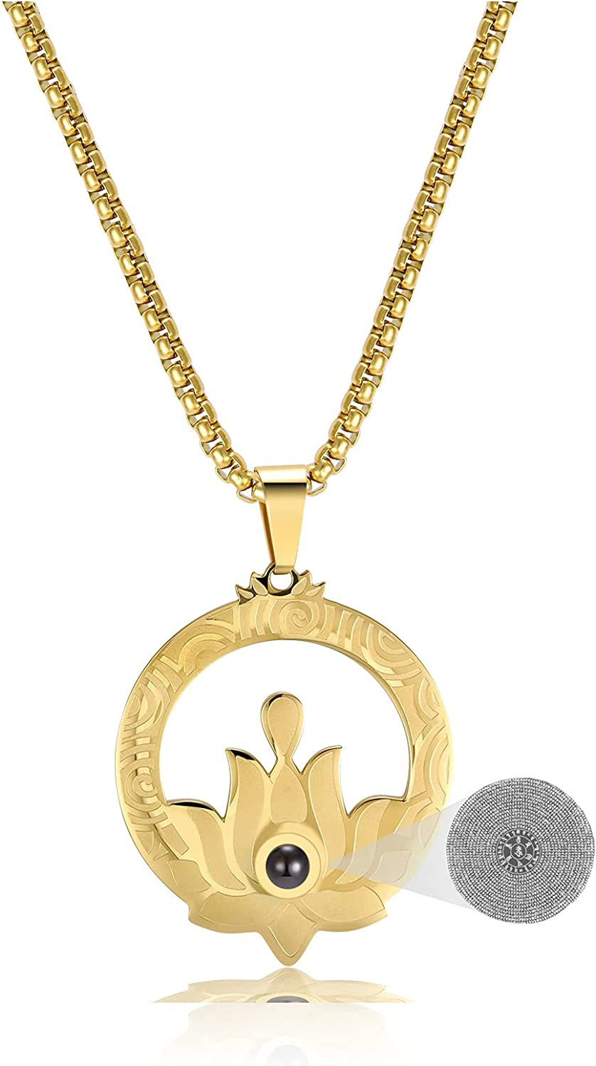 CILILI Lotus Pendant with Heart Sutra Wheat Chain Necklace Chakra Protective Talisman Lucky Faith Jewelry Gifts for Women Mens