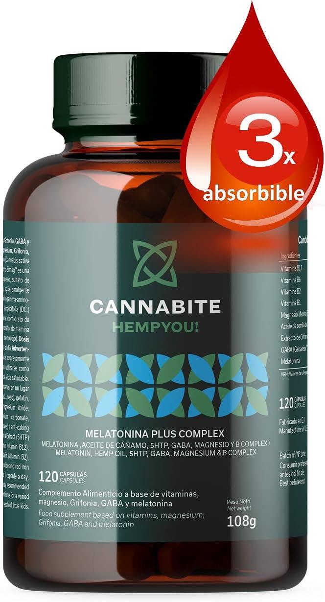 MELATONINA PLUS COMPLEX 120 Cápsulas   Aceite de semilla Cáñamo Virgen   5HTP   GABARelax   Magnesio Marino   Vitaminas B COMPLEX   3X Absorbible   Alta Biodisponiblidad   Relax y Descanso