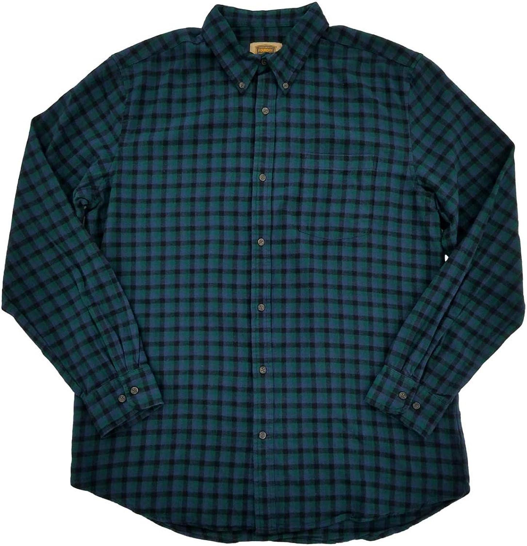 Mens Big & Tall Green Indigo Black Check Flannel Button-Down Shirt LT