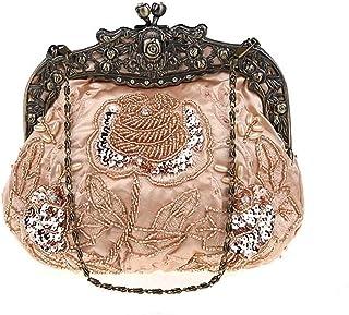 NSHUN Mini Beaded Clutch Bag Sequins Banquet Bag Ethnic Style Evening Bag Bride Dress Handbag Cheongsam Handbag (Color : Champagne)