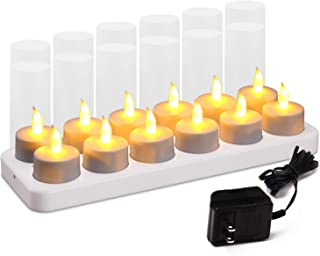 Esup Rechargeable Candles Flameless Flickering Candles Tealights 12pcs/Set with White Base,  Decoration Parties,  Weddings,  Bar,  Family,  Dinner Outdoor Picnic (No Remote Control)