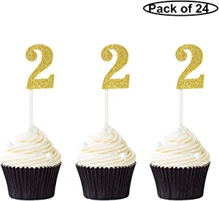 Pack of 24 Number 2 Cupcake Toppers Gold Glitter 2nd Birthday Caupcake Picks Anniversary Party Decor