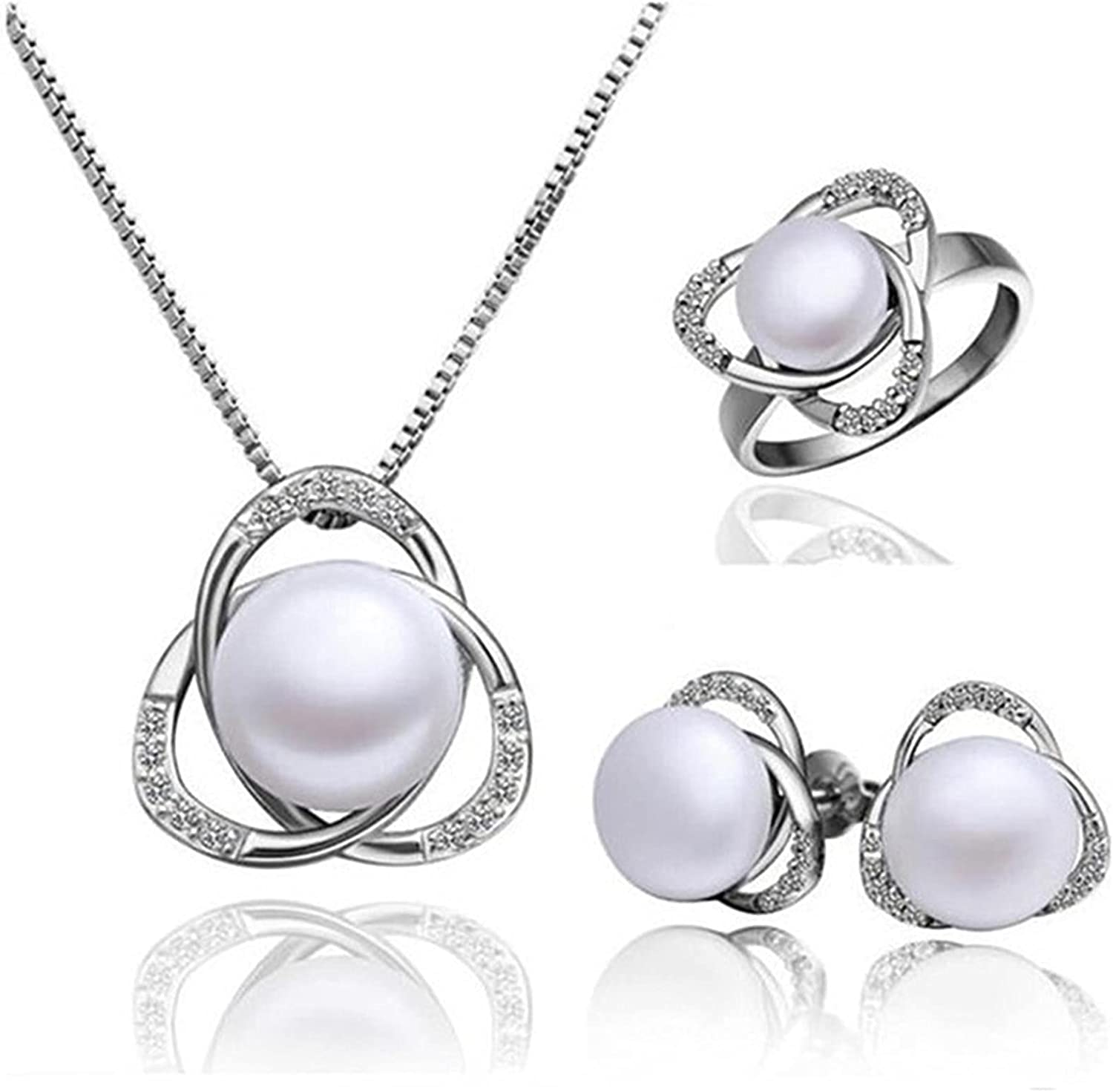 QWEOP Imitation Pearls Necklace Earrings Rings Set Rhinestones Bridal Wedding Jewelry Gifts for Women