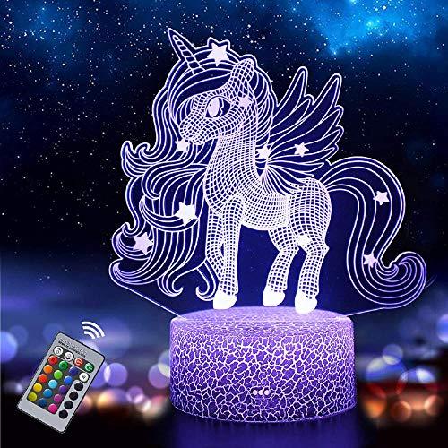 Luz nocturna de unicornio para niños, lámpara de ilusión 3D 16 colores, lámpara LED regulable para mesita de noche para niños y niños, regalo de cumpleaños y vacaciones para niños niñas