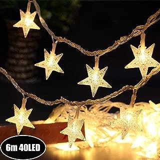 Galaxer Star Luces de Hadas Estrella de la Noche Luz de la Secuencia 20Ft / 6M 40Pcs Monochrom de dos Modos y Brillante Decoración Luz Blanco Cálido AA Alimentado por Batería