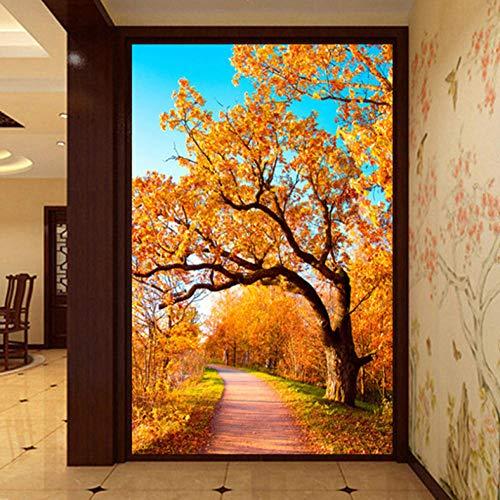 3D grote wandafbeelding, fotobehang, wanddecoratie, modern, simpel, gouden herfstbos 400cmx280cm Lm005