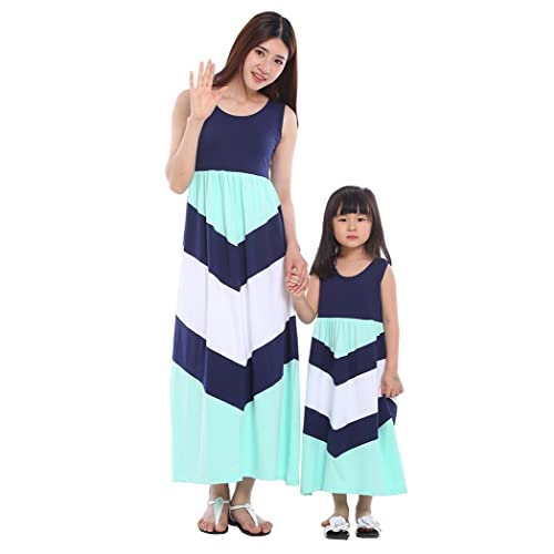 6efb455ed71 Wennikids Cotton Material Mommy and Me Chevron Maxi Dress