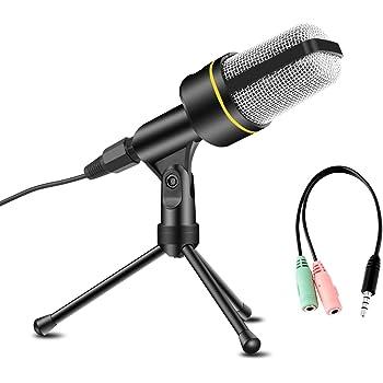 AVEDISTANTE Microfono con Soporte para PC, Profesional Micrófono Condensador con Trípode de 3,5 mm Jack, para Laptop iPad Mac Singing Youtube Skype,PS4, Karaoke, Negro
