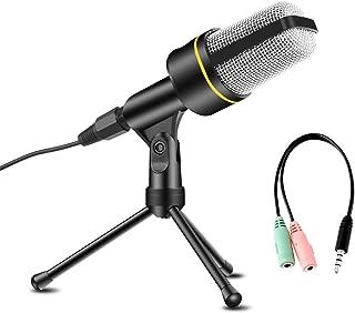 AVEDISTANTE Microfono con Soporte para PC, Profesional Micrófono Condensador con Trípode de 3,5 mm Jack, para Laptop iPad ...