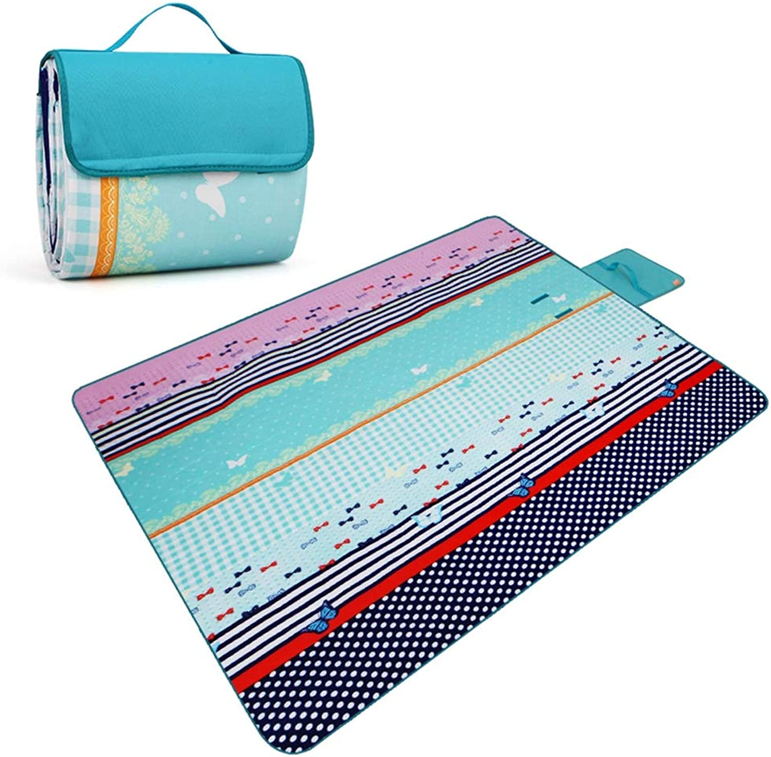 Large Outdoor Picnic Blanket  200 x 150 cm Picnic Blanket Waterproof Backing Outdoor Beach Picnic Rug Mat with Handle,Camping Travelling on Grass