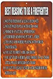 Rogue River Tactical Funny Firefighter Metal Tin Sign Wall Decor Man Cave Bar Gift Reason to Become Fire Fighter