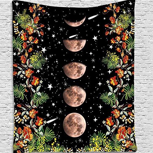 KHKJ Psychedelic Moon Starry Big Tapiz Flor Colgante de Pared Habitación Cielo Alfombra Dormitorio Tapices Arte Decoración del hogar Accesorios A19 200x180cm