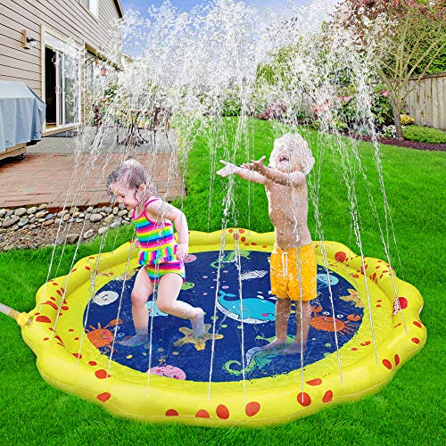 VATOS Splash Play Mat Sprinkler Pad for Kids, Fun Water Toys 59'' Water Play Mat for Toodlers, Summer Spray Toys for Backyards Gardens for Kids and Children 2 3 4 5 Boys and Girls