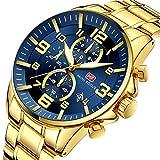 MINIFOCUS Moda de Oro para Hombre Relojes de primeras Marcas Reloj de Cuarzo Cronógrafo Reloj de Pulsera Calendario Impermeable,Blue